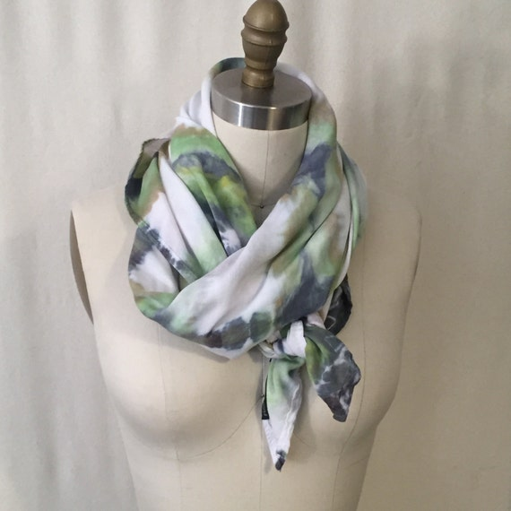 SALE Green Shibori Plaid Scarf