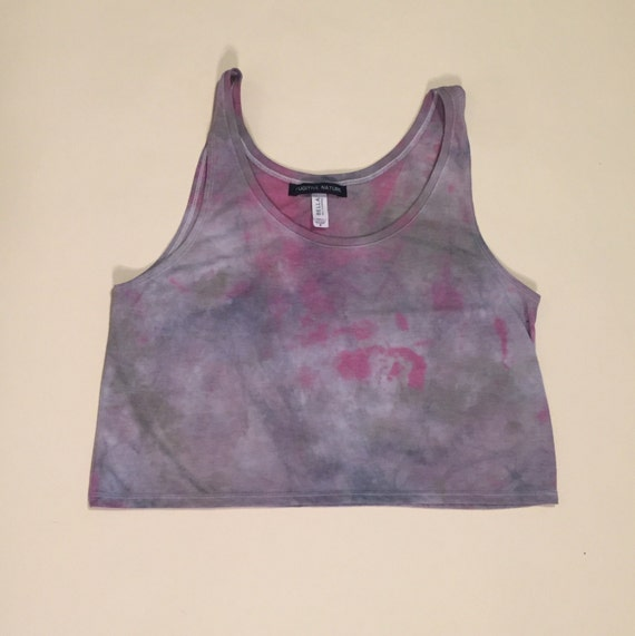 Watercolor Hand Dyed Cropped Tank (size M)