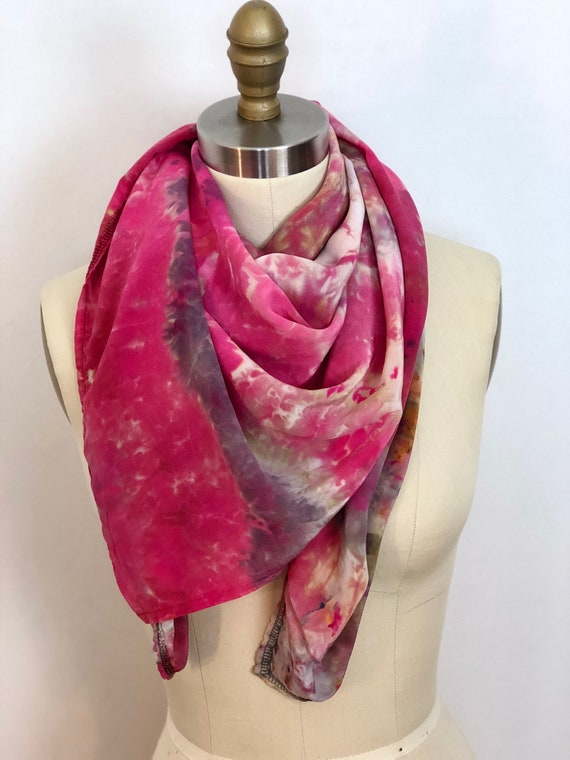 Pink Planet Ice Dye Silk Shibori Scarf