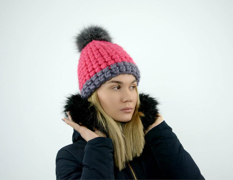b7092ec3743 Chunky hat Pom pom Beanie Hand knitted hat. Hand crocheted