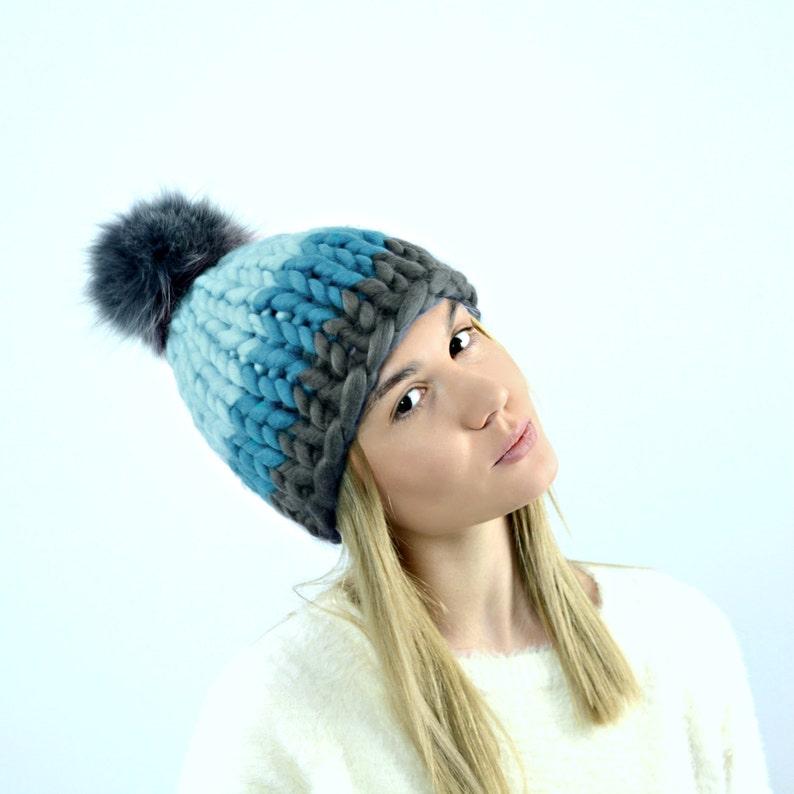 c895ab237f0 Knit hat Pom pom beanie Hand knitted hat Chunky winter hat