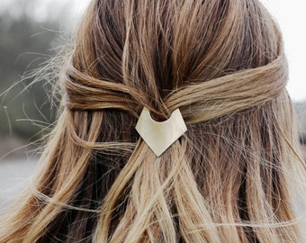 Brass Geometric Barrette, Minimal Geometric Barrette, Triangle French Barrette, Minimalist Barrette, Simple Gold Hair Clip | The Charity