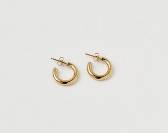 b5185524a Little Chunky Gold Hoops, Thick Gold Hoop Earring, Little Chunky Silver  Hoops, Sterling Silver Medium Hoops, Gold Tiny Thick Hoops | ANGES