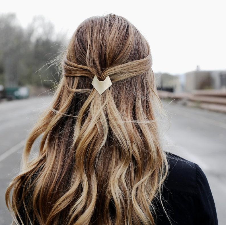 Brass Geometric Barrette Minimal Gold Hair Clip Triangle image 0