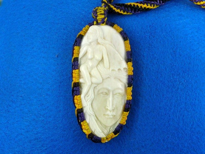 Focal Bead Pendant Goddess and the Fairy Carving Woven Bezel