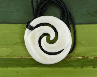 Maori Closed Koru Pendant Necklace, Hand Carved,  Bone, Surfer Necklace, Free Shipping