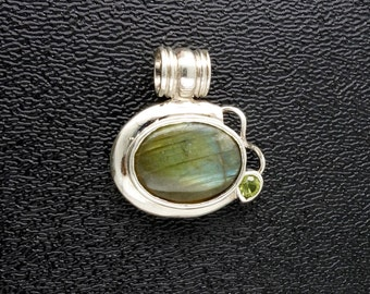 Sterling Silver - Labradorite - Pendant - Focal Bead, Free Shipping