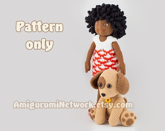 CROCHET PATTERN - Doll with cute puppy amigurumi - 2 Patterns Offer. PDF
