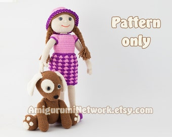 CROCHET PATTERN - Doll with puppy amigurumi - 2 Patterns Offer. PDF