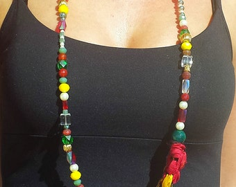 Handmade Necklace, Handmade Crystal Necklace, Crystals and recycled Sari Handmade Necklace, FREE SHIPPING WORLDWIDE