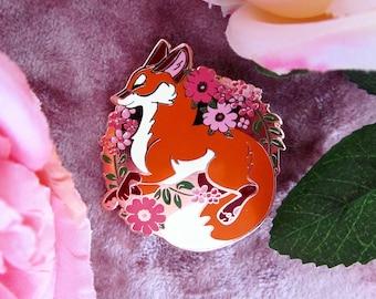 Fox Leap! Rose Gold Hard Enamel Pin