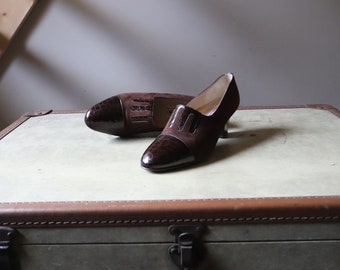 Vintage women's shoes / / Richelieu heel / / brown suede and crocodile leather shoes / / VTG Leather Shoes Richelieu
