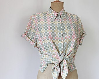 80s 90s May Green candy colored weave printed button down shirt-chemisier couleur pastel
