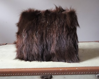 Vintage sleeve made from real fur, with warmer hands the 70's fur Sleeve zipper pocket