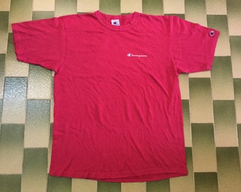 f217bcbab Vintage Champion T Shirt With Champion Patch On Sleeve Size L Pink Colour Tee  Shirt Made In USA
