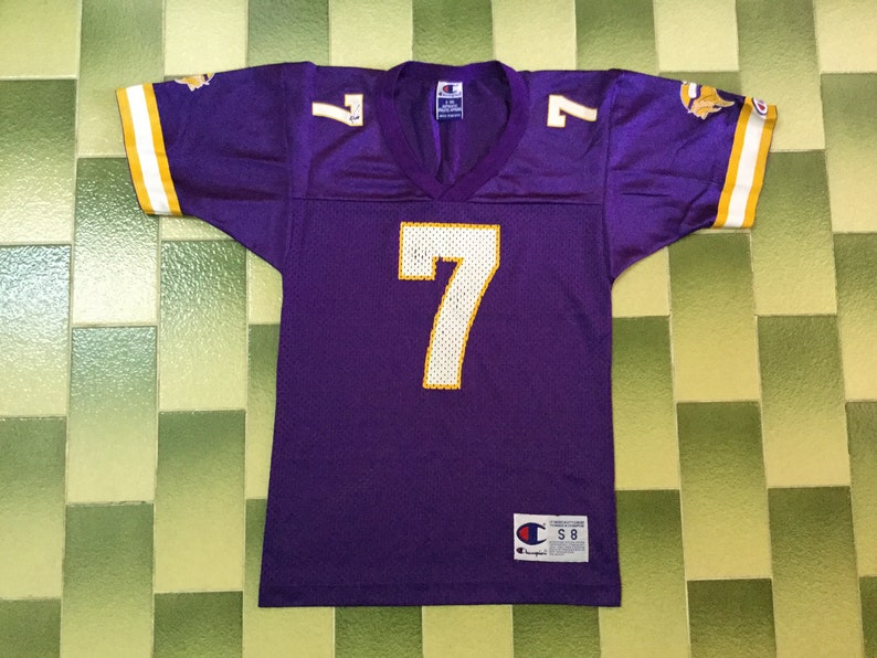 brand new 77700 aba45 Vintage NFL Randall Cunningham #7 Minnesota Vikings american football  Champion jersey Kid Size S (8) Both sleeve has champion logo