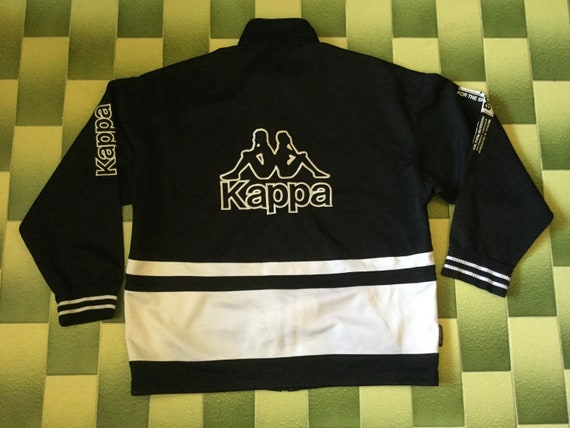 6b5a47b7 Vintage Kappa Track Jacket Full Zip Tracksuit Top Black and White Color