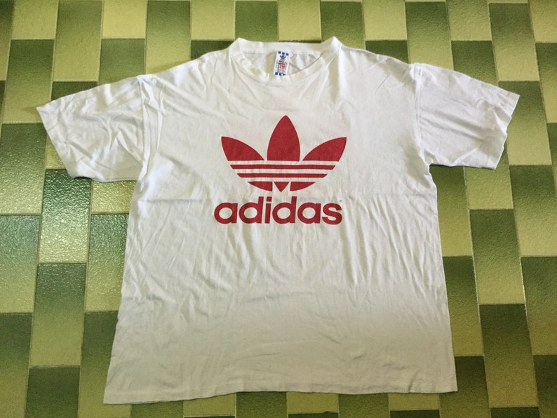 01922f9caa02c Vintage Adidas Big Logo Trefoil t-shirt Double Sided Print The three  stripes brand tee shirt Size XL