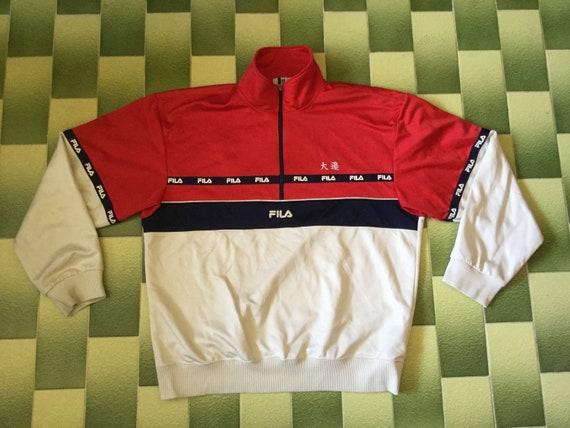 Fila Tapered Half Zip Pullover Track Jacket Size XXL