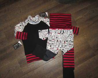 Scalable Kit, pants and sweater 6-36 m and 9-36 m dog cat back jeans, evolutionary kids kit