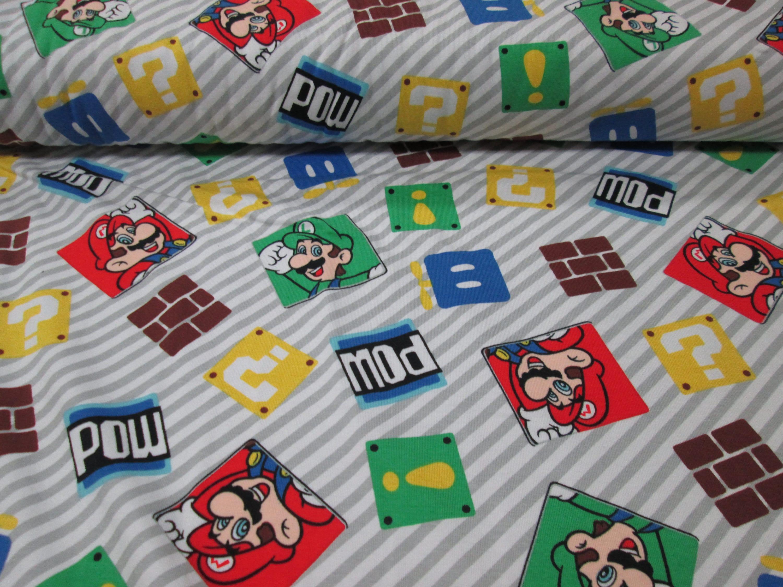 Fabric Cotton Lycra Knit Mario Bross Etsy Zoom