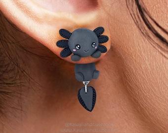 Dark axolotl earrings handmade, clinging earrings special gift for animal lovers, cute sea creture, cute fish animal earrings kawaii