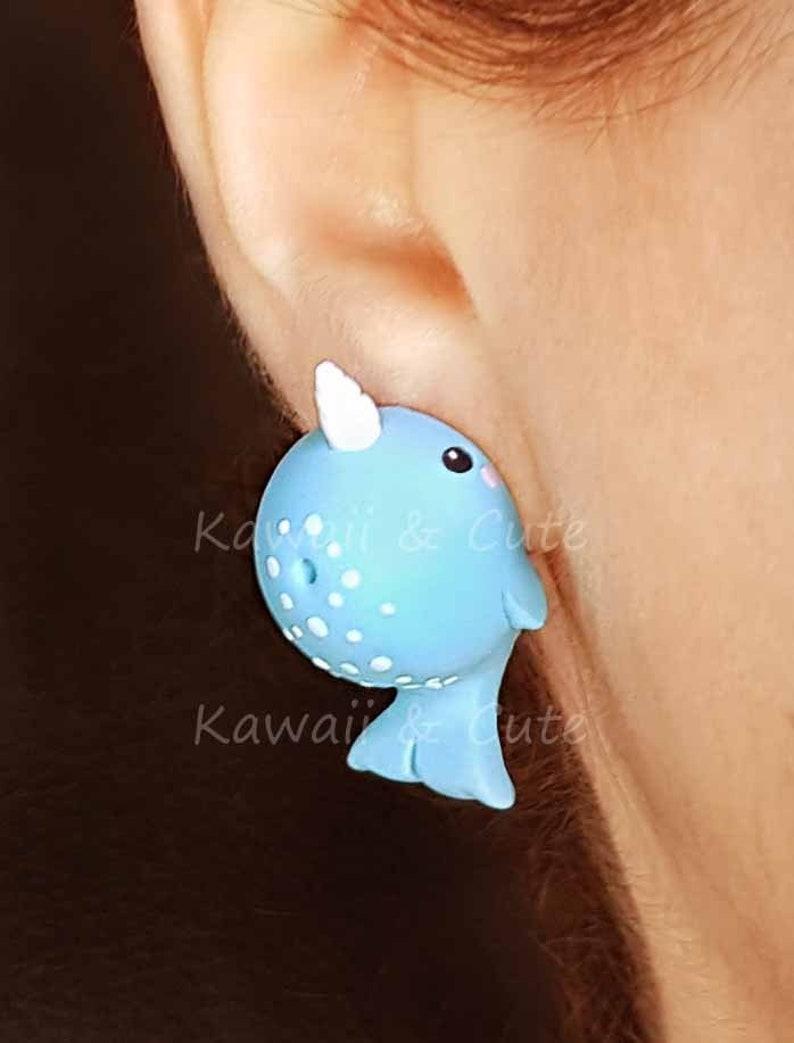 60b3a30f3 Narwhal Earrings Bite Ear Blue Narwhal k Biting Ear Funny   Etsy