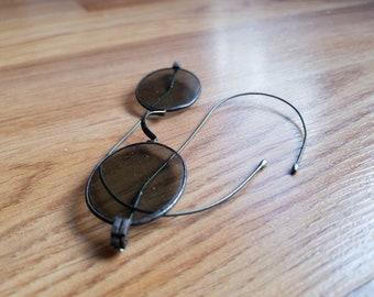 9d2a03c5371 Vintage antique rustic metal full rim round sunglasses