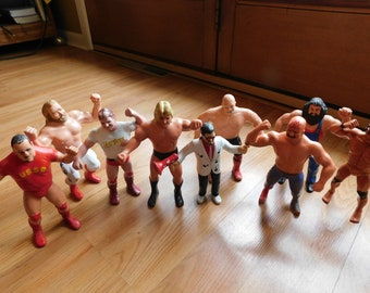 WWF WWE LJN Wrestling Figure Stand Free Shipping 5 Pack For $35