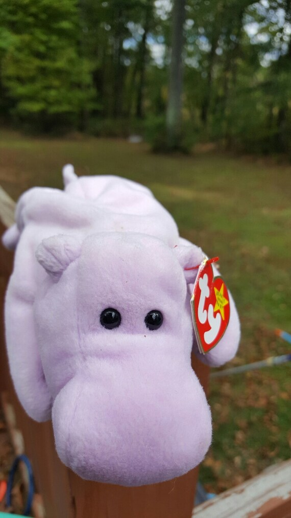 Vintage Ty Beanie Babies HAPPY the Hippo PVC pellets  9c1145762ab4