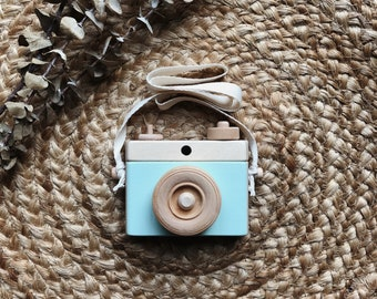 Wooden Camera, Homemade, Mint Wooden toy camera, Wooden Toy Camera, Handcrafted, Imagination play, Nursery decor