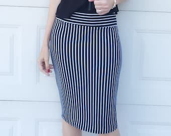 SALE Black White Vertical Stripe Fitted Pencil Skirt