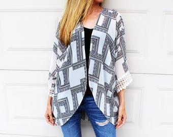 Off White Black Boho Print Sheer Kimono, Crochet Trim Kimomo