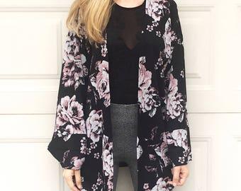 Black Floral Print Light Knit Kimono Cardigan, Black Knit Cardigan