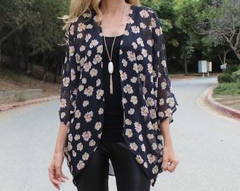 Black Floral Sheer Kimono, Daisy Flower Print Kimono Cardigan