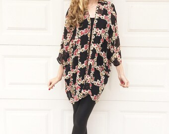 Black Floral Print Sheer Chiffon Kimono, Flowy Black Kimono Cardigan
