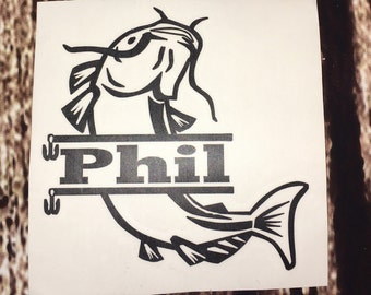 Personalized Catfish Decal - Fishing Decal - Catfish Car Decal - Catfish Monogram - Fishing Monogram - Fish Decal - Decals for Men