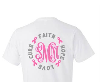b129a047 Breast Cancer Shirt, Breast Cancer T Shirt, Breast Cancer Women, Cancer  Monogram Shirt, Customize Ribbon Color, Plus Size Breast Cancer