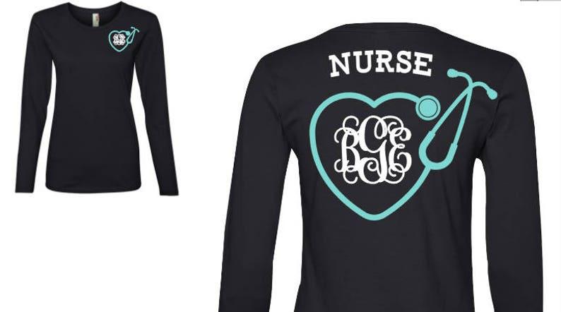 dcc26cdd313 Nurse Monogram Shirt Nurse Shirt Nurse Stethoscope Shirt | Etsy