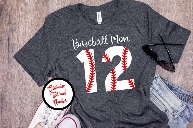 115c85e7558 Baseball Mom Shirts Baseball Number Shirt Baseball for Mom