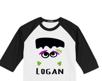 Boys Halloween Shirt, Boys Frankenstein Shirt, Boys Personalized Halloween Shirt, Boys Halloween T Shirt, Boy Frankenstein Name Raglan