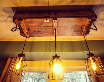 Reclaimed Wood Industrial Light Fixture (Rustic Lighting, Edison Bulbs,  Dining Room Lighting, Bar Light, Lighting, Hanging Light Fixture)