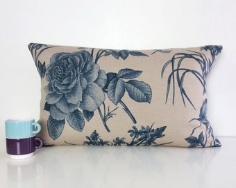 """SALE Rose & Butterfly Printed Cushion Covers, 14"""" x 24"""" Decorative Pillows, Blue Textured Throw Pillows."""