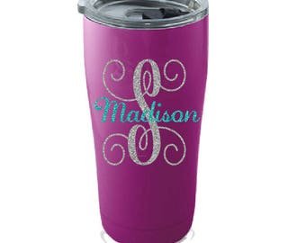 Initial with name decal- Personalized Name decal- Personalized yeti decal- Name decal- Glitter decal - Vinyl Name decal - Yeti sticker