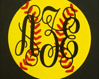 Softball Monogram decal