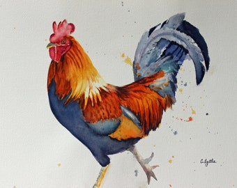Barnyard Rooster Original Watercolor Painting Giclee Prints Canvas Wraps Farm Art  Glass Magnet Gift Idea Free Shipping # 182
