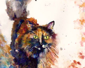 Cat Art Watercolor Painting Tortoise Shell Cat Giclee Print Art Prints Original Art Gift Idea Note Cards Magnet Carol Lytle Free Shipping #6