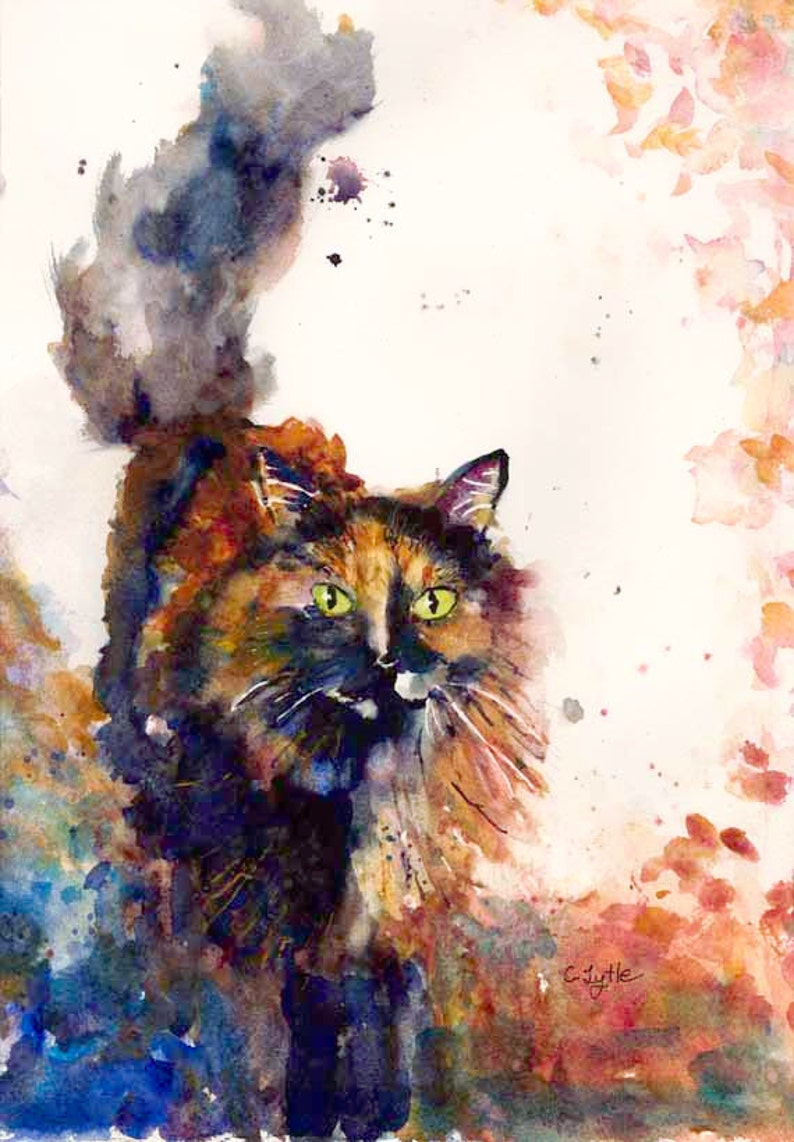 Cat Art Watercolor Painting Tortoise Shell Cat Giclee Print image 0