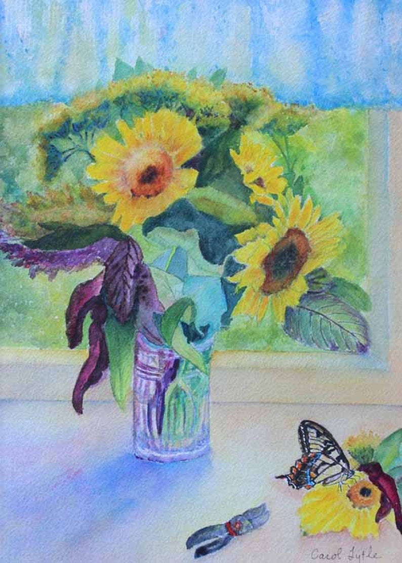 Sunflower Butterfly Watercolor Painting Watercolor Art  Prints image 0