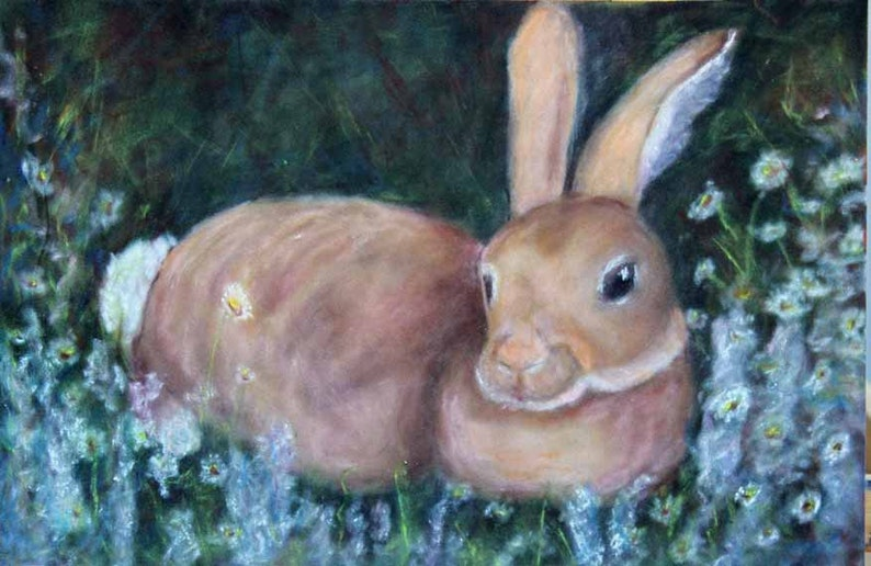 Rabbit Painting Pastel Art Original Art Bunny Prints Giclee image 0